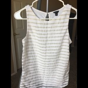 Ann Taylor tank top in white with golden stripe